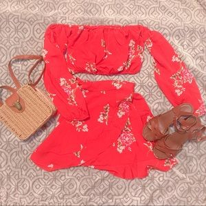 💋TWO PIECE RED FLORAL SET💋